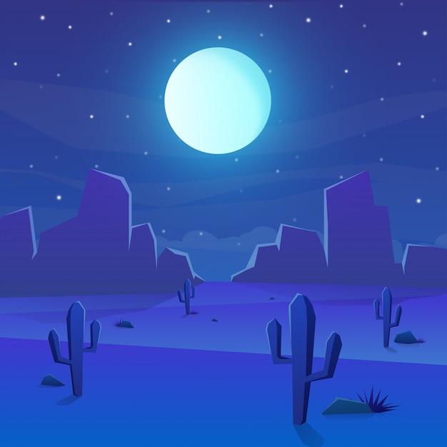 Woestijnlandschap met cactus en volle maan op nacht Premium Vector