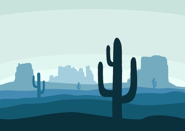 Woestijnlandschap met cactus Premium Vector