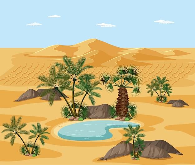 Woestijnlandschap met de elementenscène van de natuurboom Gratis Vector