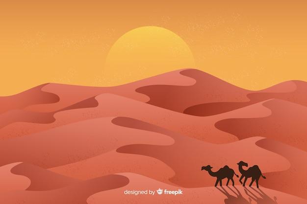 Woestijnlandschap met kamelen Gratis Vector