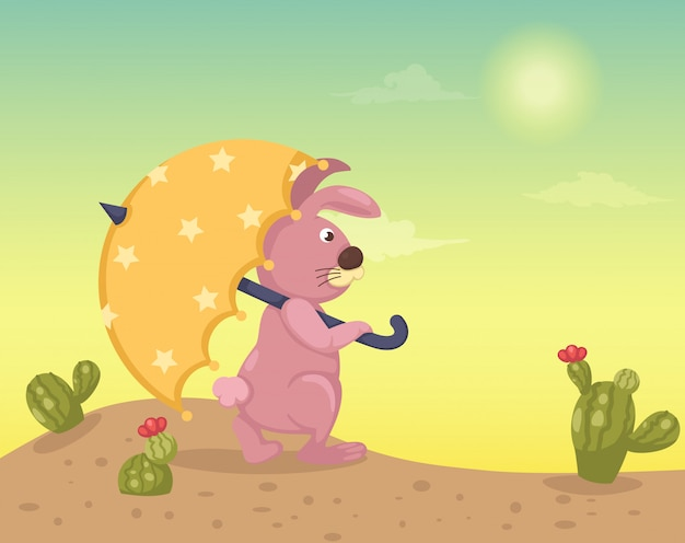 Woestijnlandschap met konijn Premium Vector