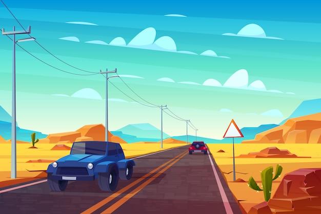 Woestijnlandschap met lange weg en auto'srit langs asfaltweg met teken en draden. Gratis Vector
