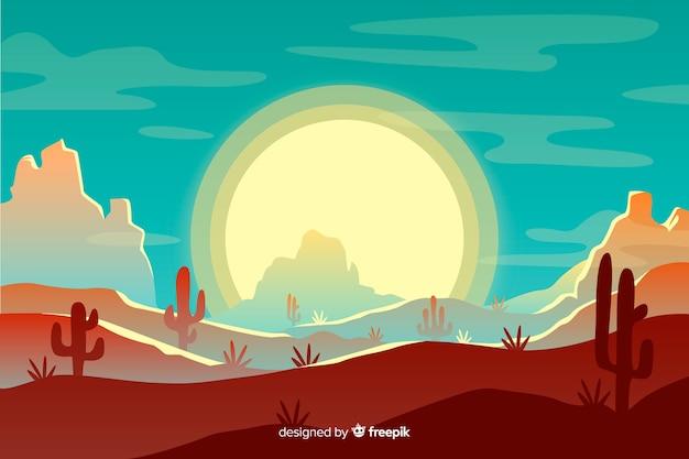 Woestijnlandschap met zon en blauwe hemel Gratis Vector