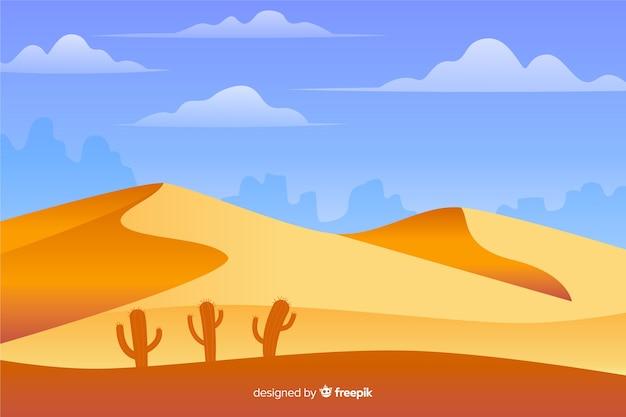 Woestijnlandschap plat ontwerp als achtergrond Gratis Vector