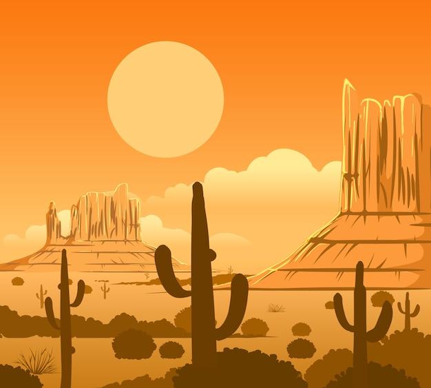 Woestijnlandschap van amerika het wilde westen Premium Vector