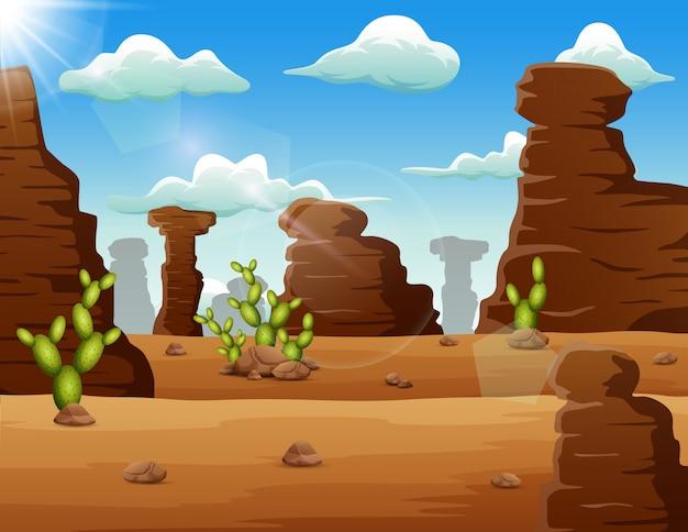 Woestijnlandschapsachtergrond met rotsen en cactus Premium Vector