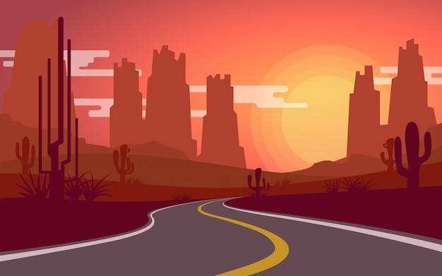 Woestijnmening terwijl zon met lege landweg wordt geplaatst die Premium Vector
