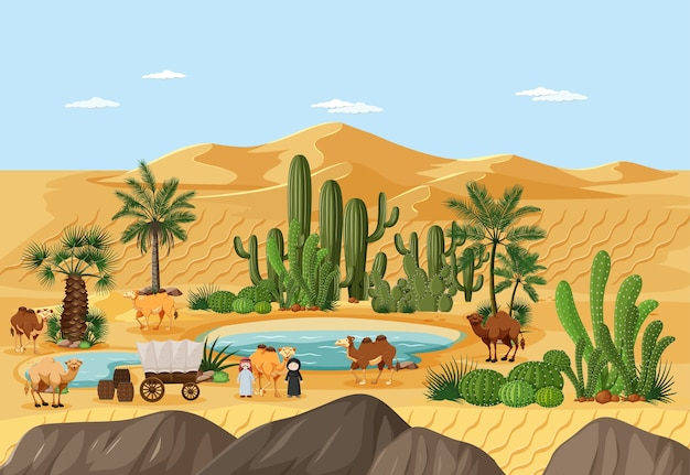 Woestijnoase met palmen en het landschapsscène van de catusnatuur Gratis Vector