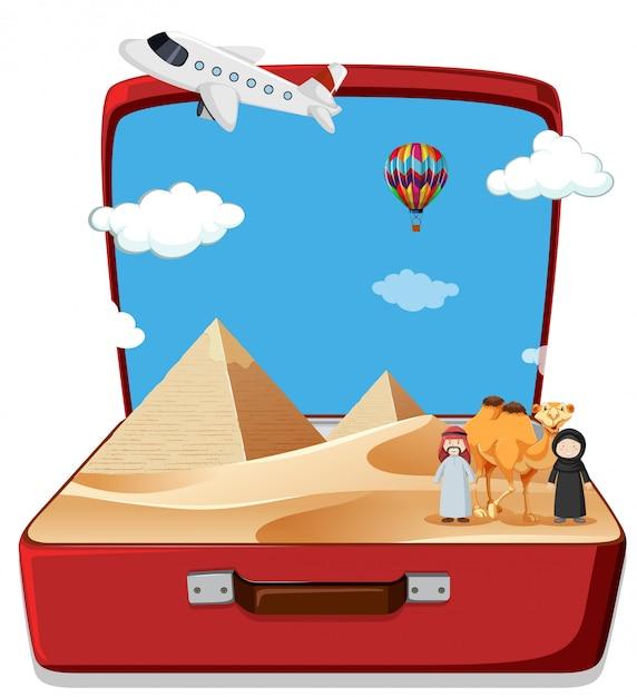 Woestijnscène in koffer Premium Vector