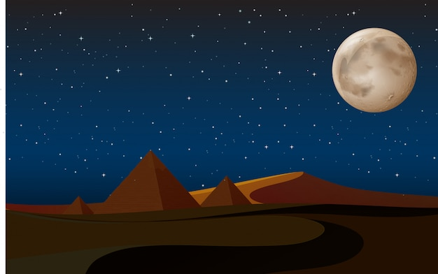 Woestijnscène met piramides bij nacht Gratis Vector