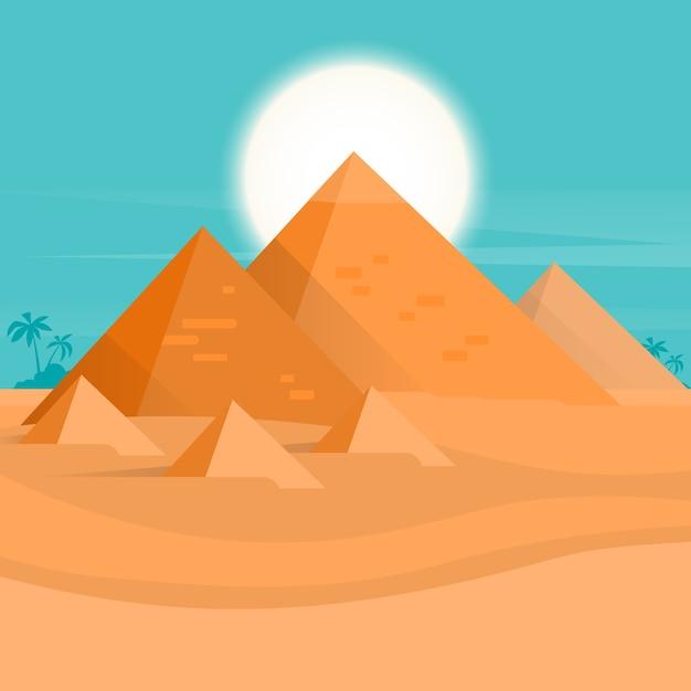 Woestijnweergave egypte piramides zonsondergang Premium Vector