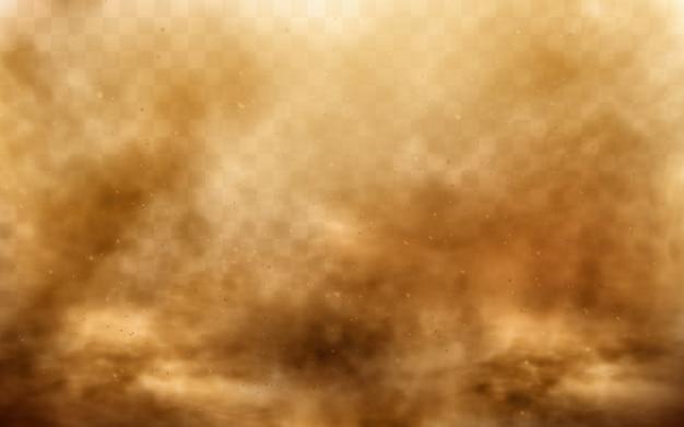 Woestijnzandstorm, bruine stoffige wolk op transparant Gratis Vector