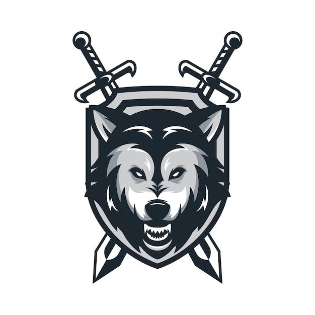 wolf dierlijke sport mascotte hoofd logo vector vector