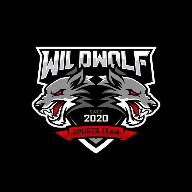 Wolf e-sports logo ontwerp Premium Vector