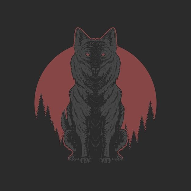 Wolf en rode maan illutration Premium Vector