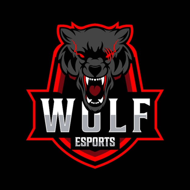 Wolf esport logo sjabloon Premium Vector