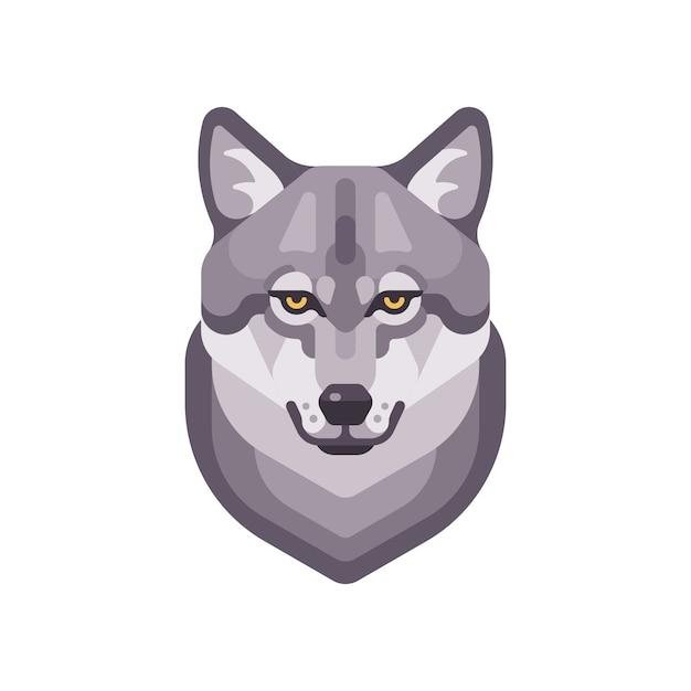 Wolf hoofd vlakke afbeelding. wild dierlijk gezicht pictogram Premium Vector