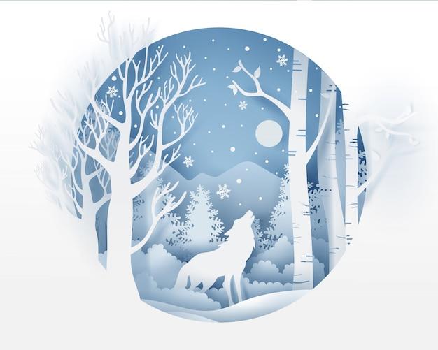 Wolf in bos met sneeuw in de wintertijd Premium Vector