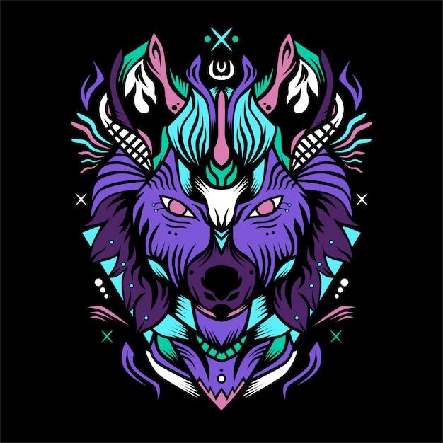 Wolf ridder Premium Vector