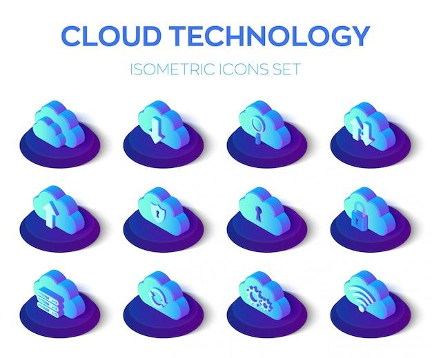 Wolk icons set. cloud technologie. 3d isometrische icons set. Premium Vector