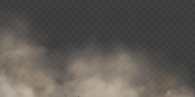 Wolkcondensatie of witte rook op transparante achtergrond. Premium Vector