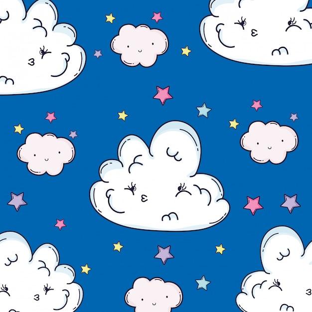 Wolken die achtergrond glimlachen Premium Vector