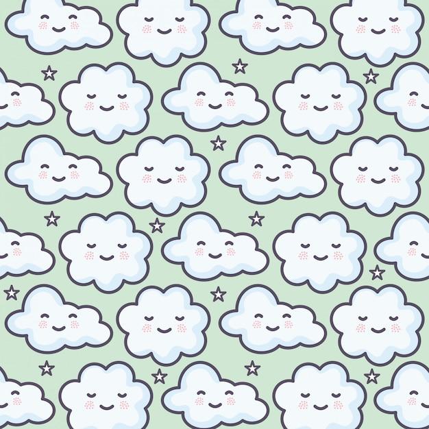 Wolken hemel weer kawaii tekens patroon Gratis Vector