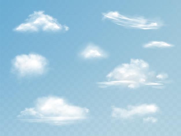 Wolken realistische set illustratie van doorschijnend bewolkte hemel met pluizige wolken Gratis Vector