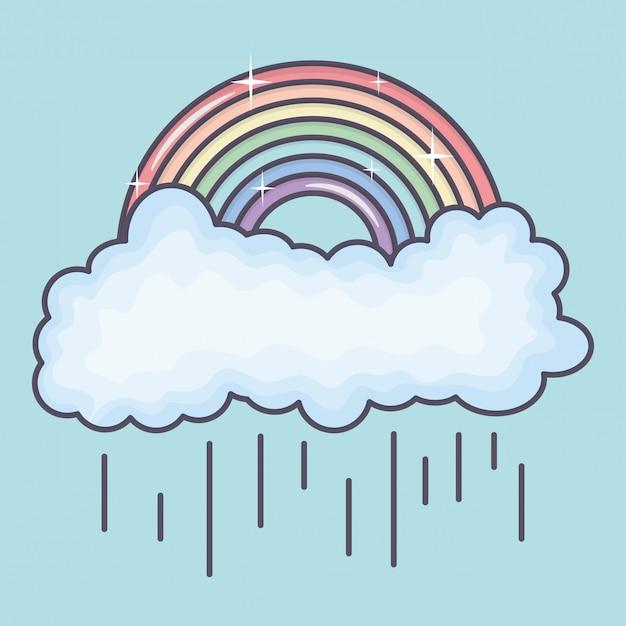 Wolken regenachtige hemel met regenboogweer Gratis Vector