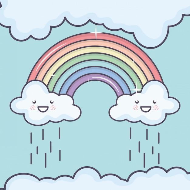 Wolkenhemel met kawaiikarakters van het regenboogweer Gratis Vector