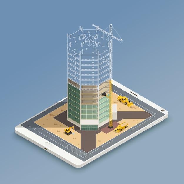 Wolkenkrabber bouw isometrische samenstelling Gratis Vector