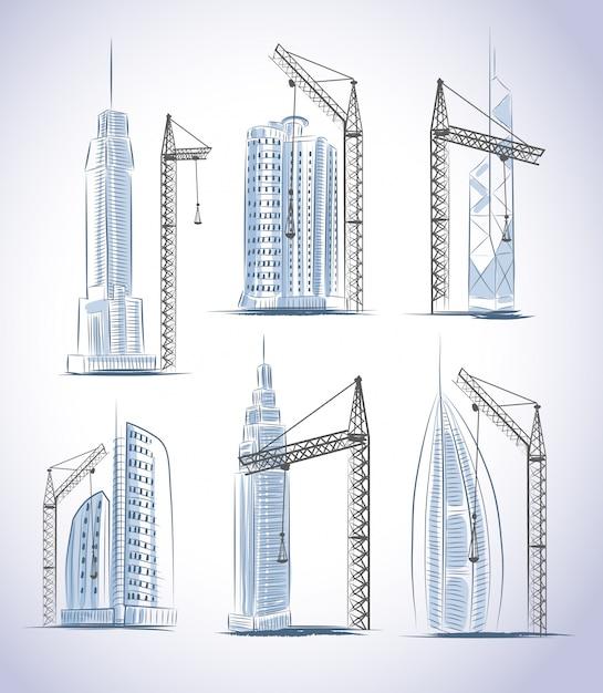 Wolkenkrabbers gebouwen bouw set Gratis Vector