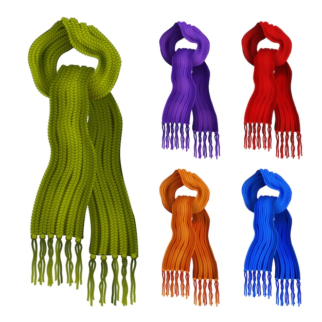 Wollen gebreide sjaals in verschillende kleuren decoratieve geplaatste pictogrammen Gratis Vector