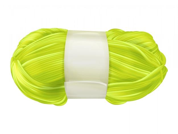 Wolwollen schoothoek illustratie van het breien van textiel gele of groene draad voor het weven Gratis Vector