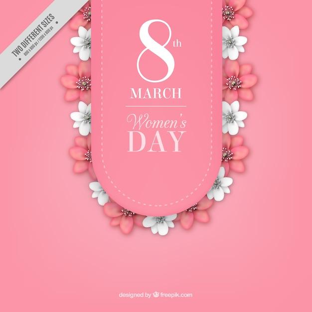 Women's Day achtergrond met witte en roze bloemen Gratis Vector