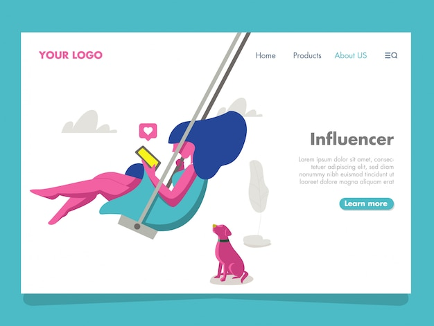 Women influencer illustration voor bestemmingspagina Premium Vector