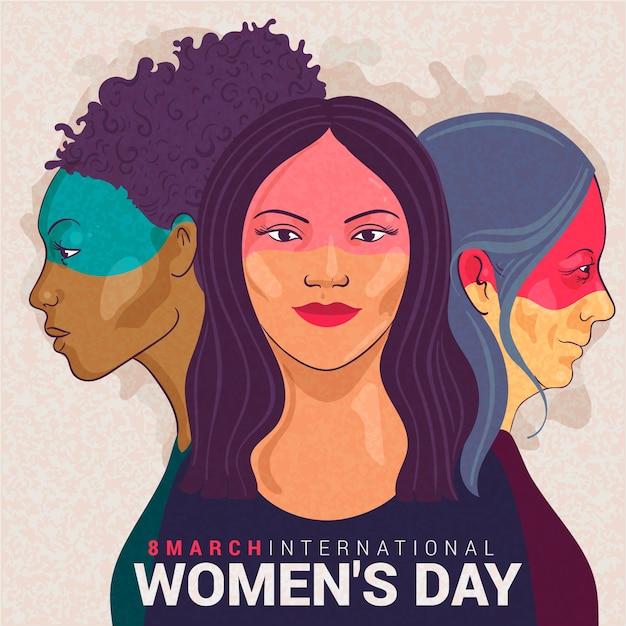 Womens dag evenement tekening concept Gratis Vector