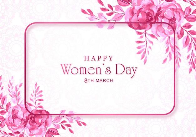Womens dagkaart met decoratief bloemframe Gratis Vector
