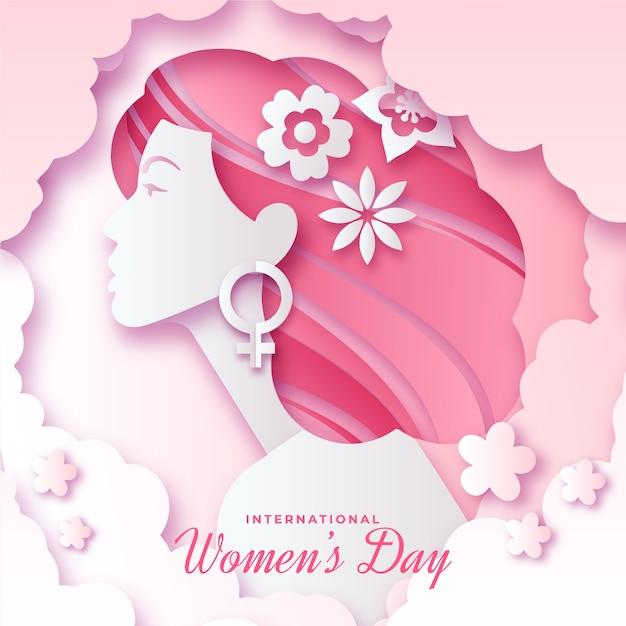 Womens day-evenement in papieren stijl Gratis Vector