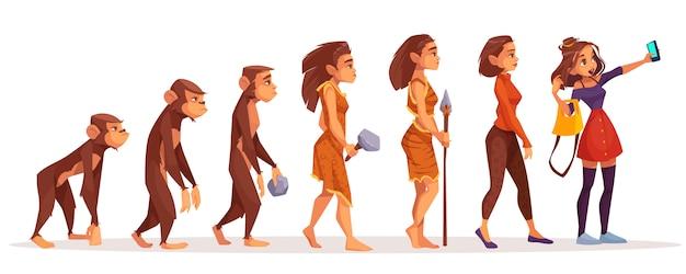 Womens schoonheid en mode evolutie cartoon Gratis Vector