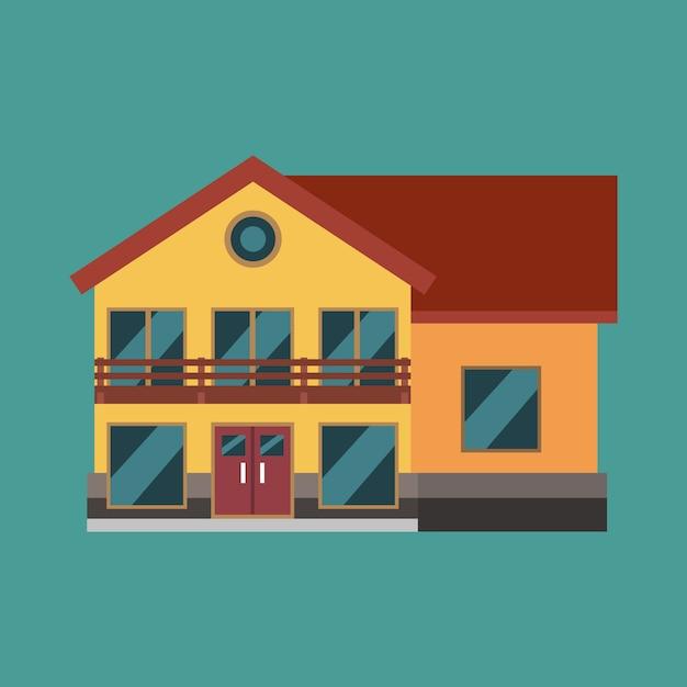 Woningbouw onroerend goed icond. huis familie exterieur vlakke afbeelding cottage structuur Premium Vector