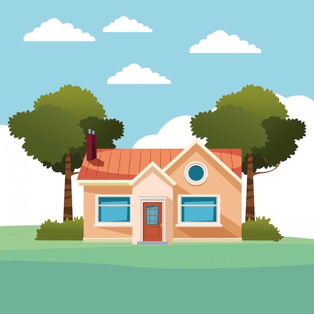 Woningbouw pictogram cartoon geïsoleerd Gratis Vector