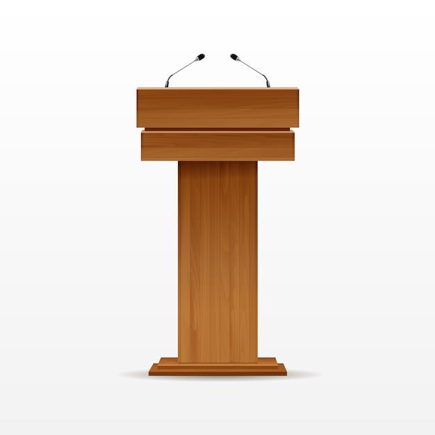 Wood podium tribune rostrum stand met microfoon Premium Vector