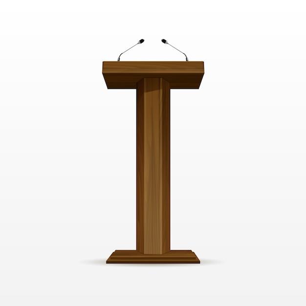 Wood podium tribune rostrum stand met microfoons Premium Vector