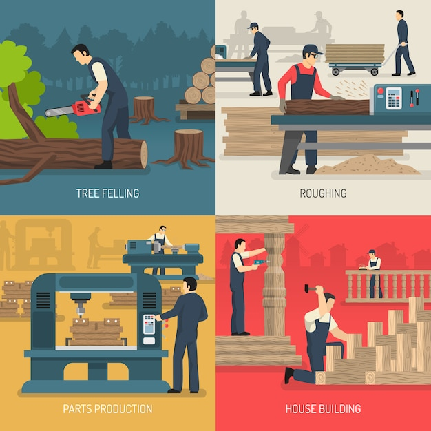 Wood works-samenstelling Gratis Vector