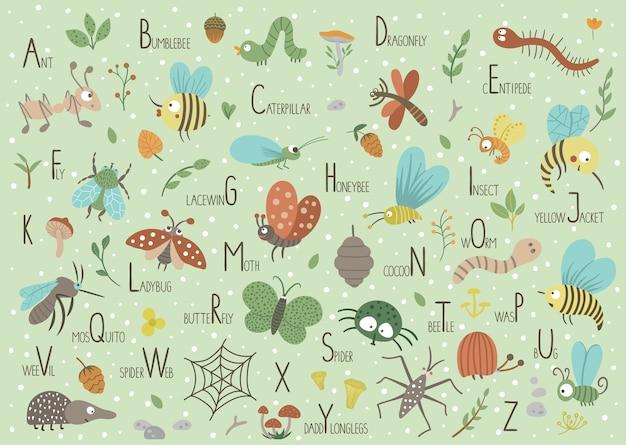 Woodland alfabet voor kinderen. leuk plat abc met bosinsecten op groene achtergrond. Premium Vector