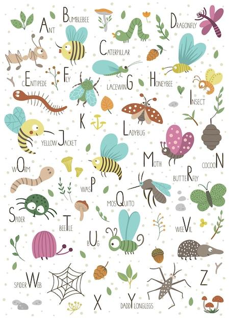 Woodland alfabet voor kinderen. leuk plat abc met bosinsecten. Premium Vector