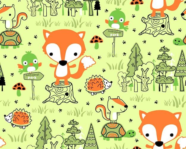 Woodland dieren cartoon op naadloze patroon Premium Vector