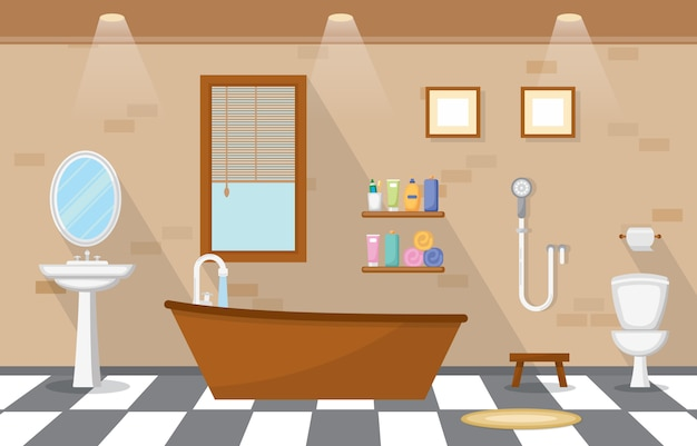 Woon ingerichte badkamer Premium Vector