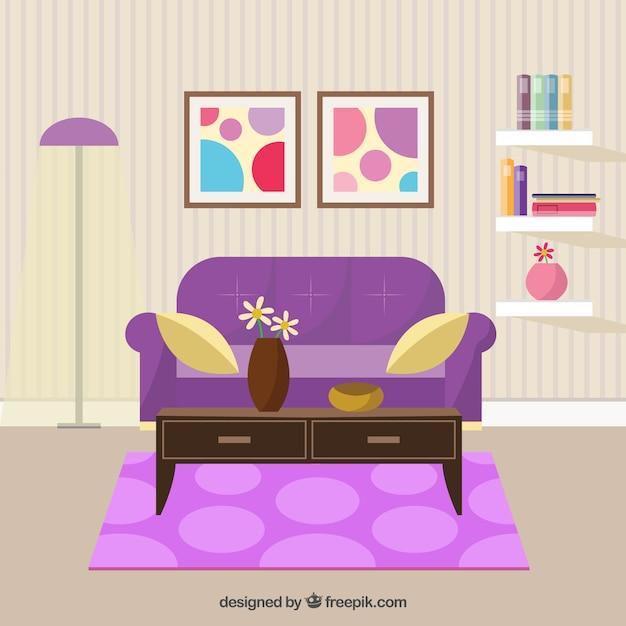 Woonkamer decoratie vector premium download - Decoratie kamer thuis woonkamer ...